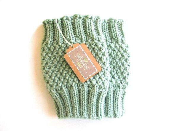 Knitted Boot Cuffs - Mint Knit Boot Cuffs - Leg Warmers - Mint - Boot Toppers - Knit Boot Socks. $39.00, via Etsy.