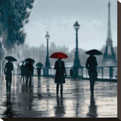Paris Red Umbrella Stretched Canvas