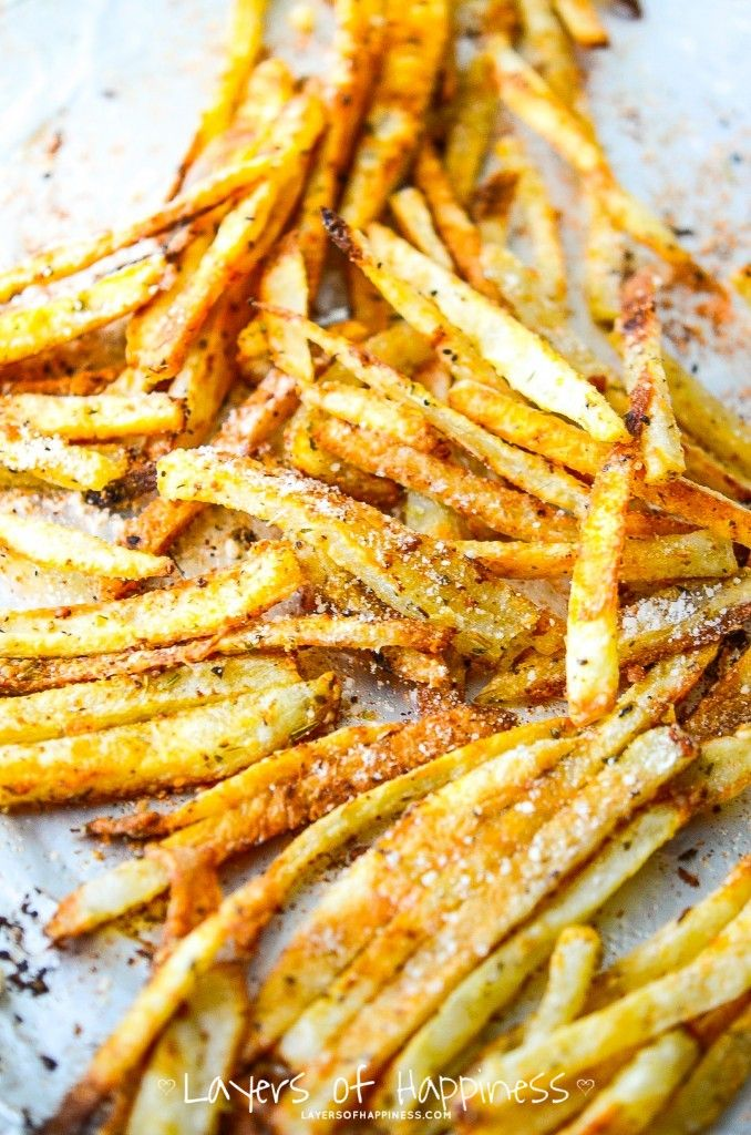 Extra Crispy Oven Baked Fries. Will add garlic when I try these. Sprinkle on some malt viniger? Yum