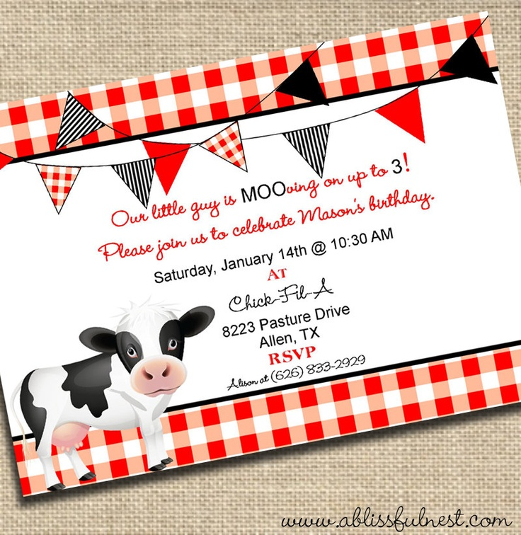 17 Best images about birthday party ideas – Cow Birthday Invitations