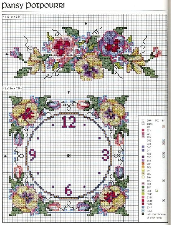 pinterest pansies cross stitch charts | Pansy Potpourri