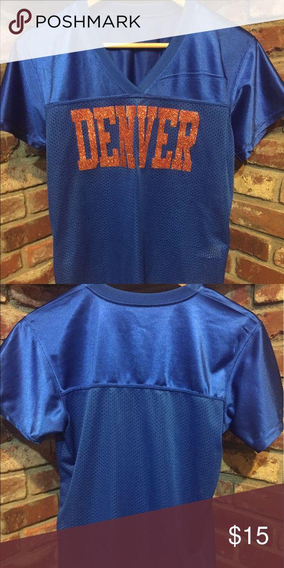 Denver jersey Blue and orange Denver jersey. Can be worn for Broncos games! Fits like a medium. Tops Tees - Short Sleeve