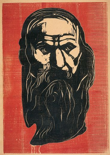Edvard Munch, Head of an Old Man with Beard, 1902, Woodcut