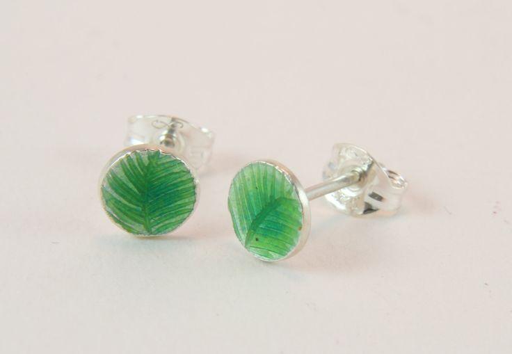 bright green engraved enamel silver stud earrings by imogenhose on Etsy