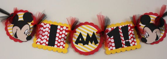 Mickey Mouse High Chair Banner by SweetEventsBoutique on Etsy, $10.00