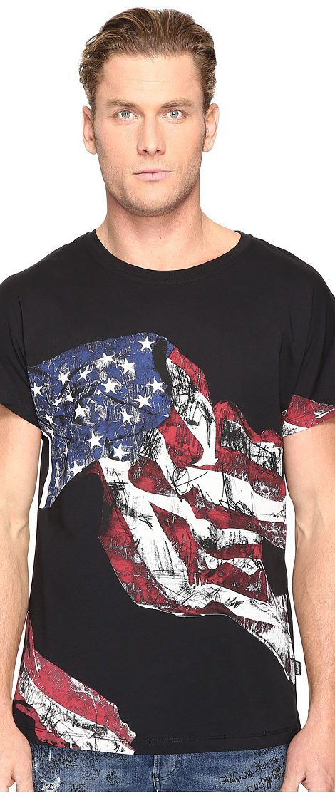 Just Cavalli American Flag T-Shirt (Black) Men's T Shirt - Just Cavalli, American Flag T-Shirt, S01GC0389N21164-900, Apparel Top Shirt, T Shirt, Top, Apparel, Clothes Clothing, Gift - Outfit Ideas And Street Style 2017