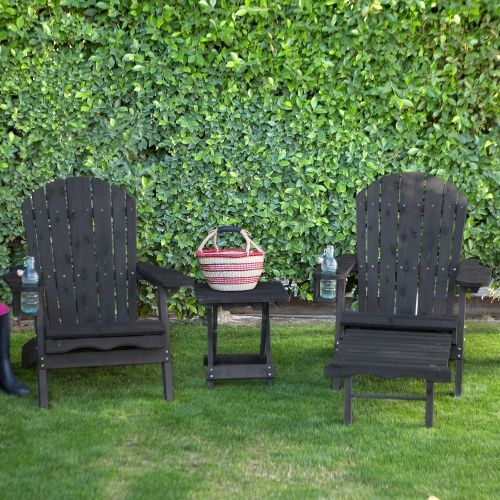 Pair Of Coral Coast Big Daddy Adirondack Chairs With Pull Out Ottoman And  Drink Holder