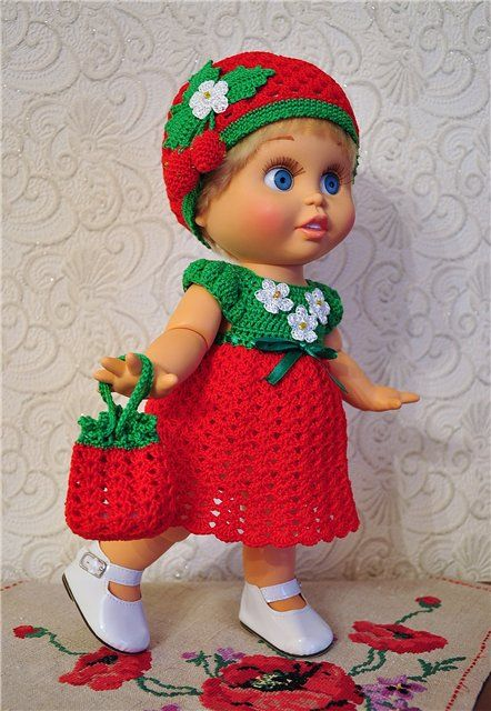 """Наряд для фейсинки """"Клубничный десерт"""" / Одежда для кукол / Шопик. Продать купить куклу / Бэйбики. Куклы фото. Одежда для кукол"""