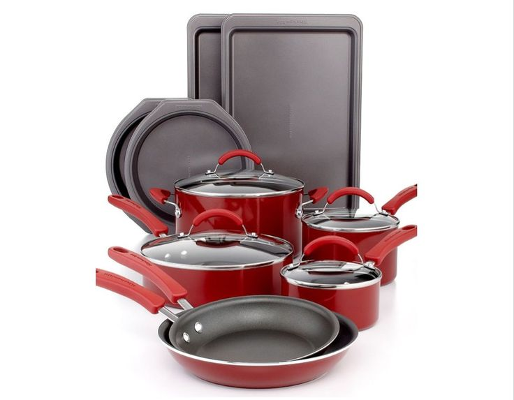 Kitchen aid 14 piece non stick cookware set red color high quality kitchenaid pots and pans - Kitchen aid pan set ...