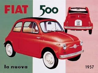 Vintage advertising illustration: Fiat 500, 1957