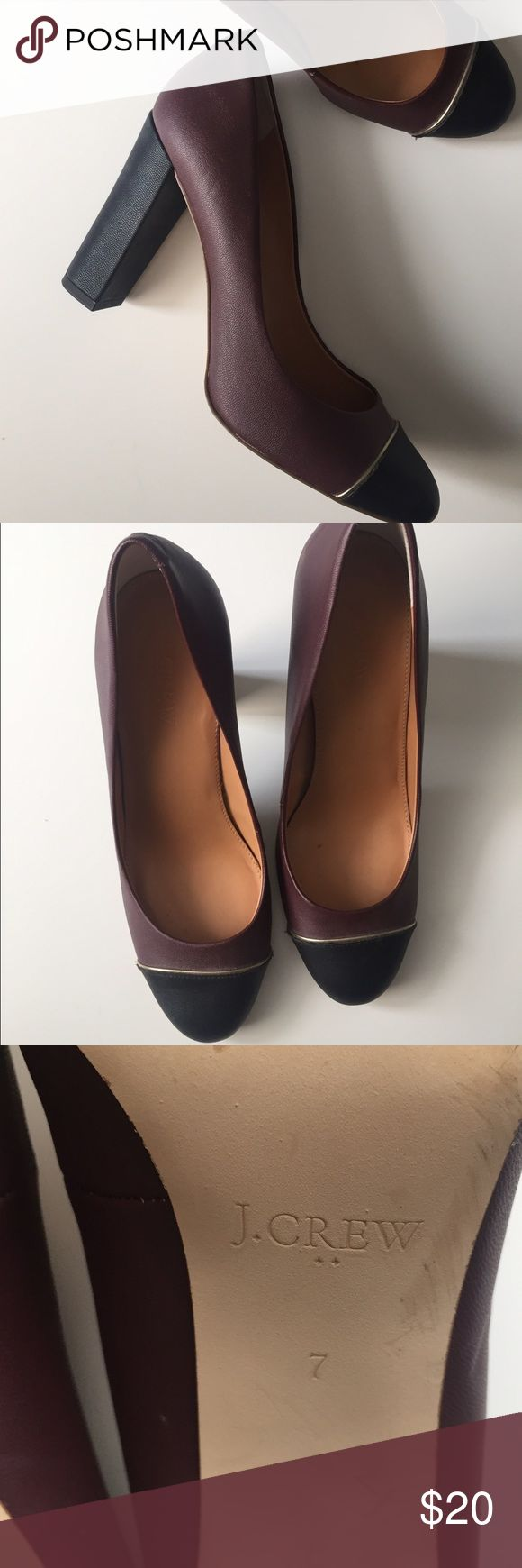 J Crew Pumps • Size 7 Purple with navy cap toe and heel, gold trim on toes. Worn >5 times J Crew Shoes Heels