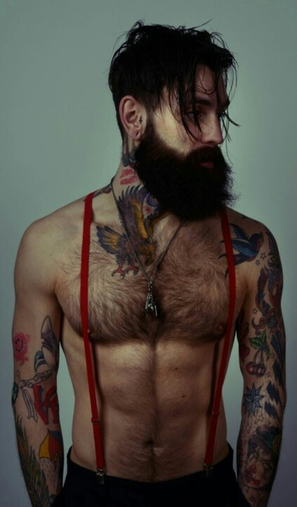 handsome tattoos beard suspenders   sexy fit abs