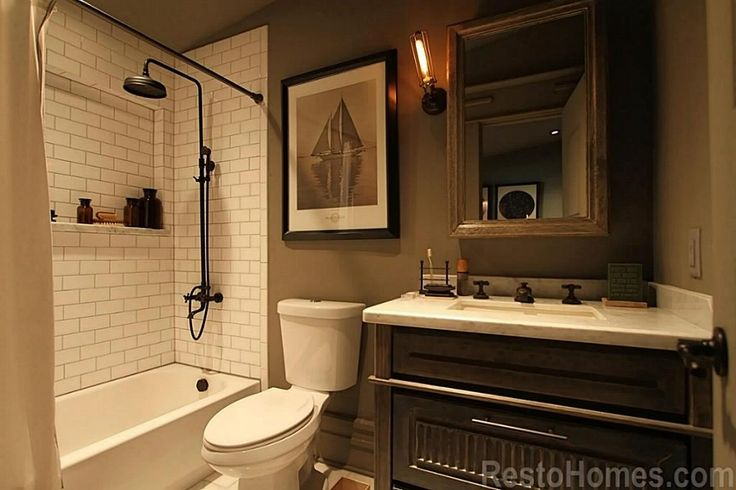 3rd Full Bathroom With Edison Caged Wall Light Weathered
