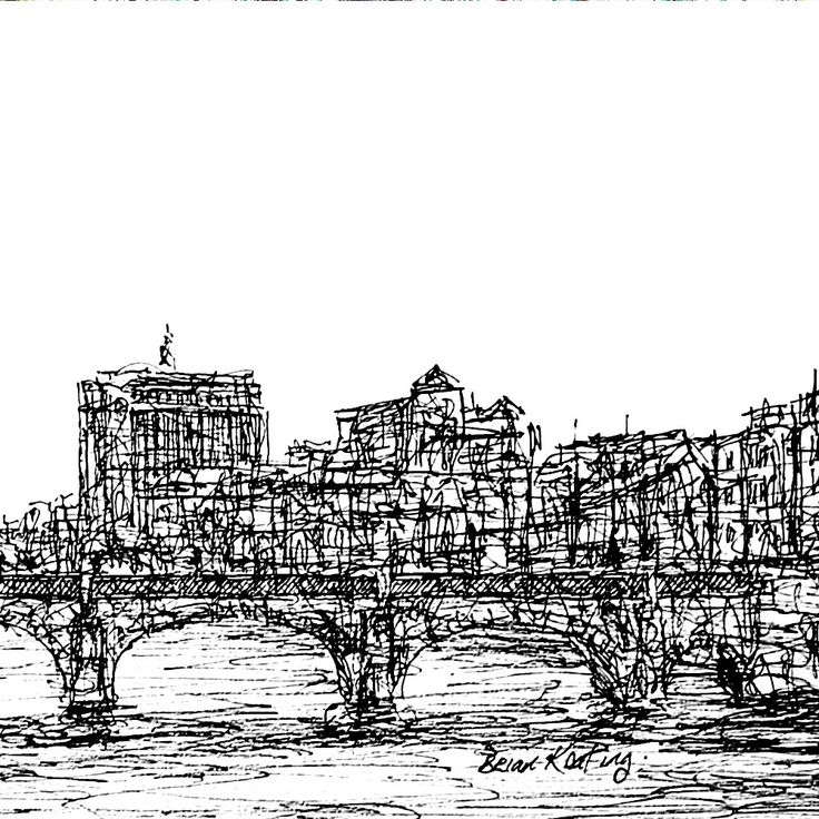 FINEARTSEEN - View Grattan Bridge Dublin by Brian Keating. A beautiful original black and white ink drawing. The Home Of Original Art. Enjoy Free Delivery with every order. << Pin For Later >>