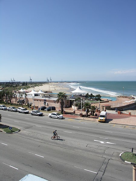 view across the Mac Arthur Pools and harbour, Port Elizabeth.