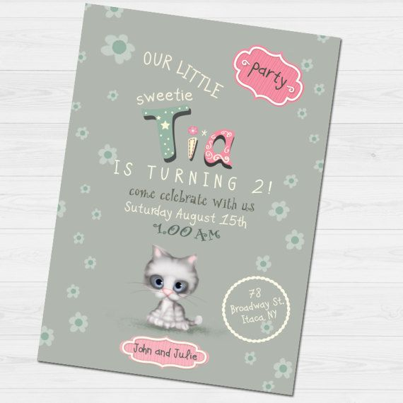 Birthday Invitation with name &  thank you card/  by babyartshop