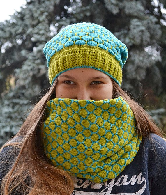Knitted  Hat & Scarf loop turquoise and pistachio by DosiakStyle