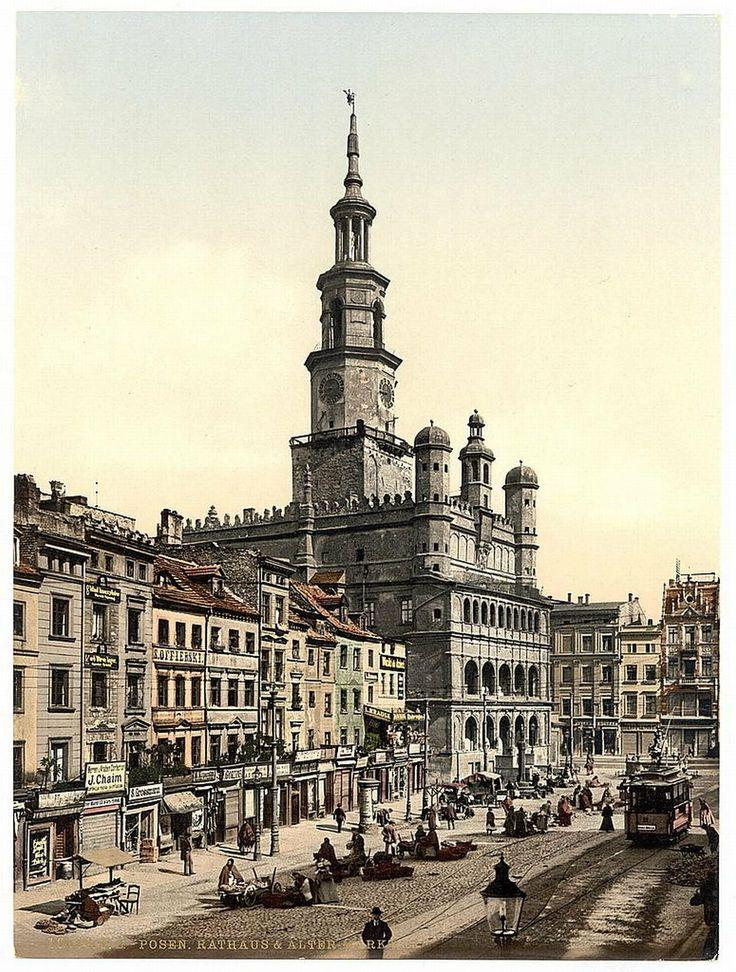 Poznan Poland, Stary Rynek w roku 1900
