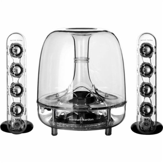 Harman Kardon - SoundSticks III 2.1 Multimedia Speaker System (3-Piece) - Clear - Front Zoom