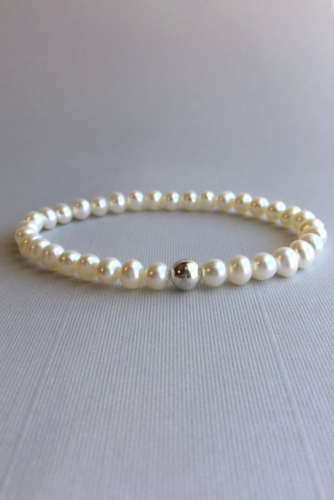 Freshwater Pearl Bracelet, Genuine Pearl Stretch Bracelet, Modern Fresh Water Pearl Jewelry for Weddings, Brides, Bridesmaids