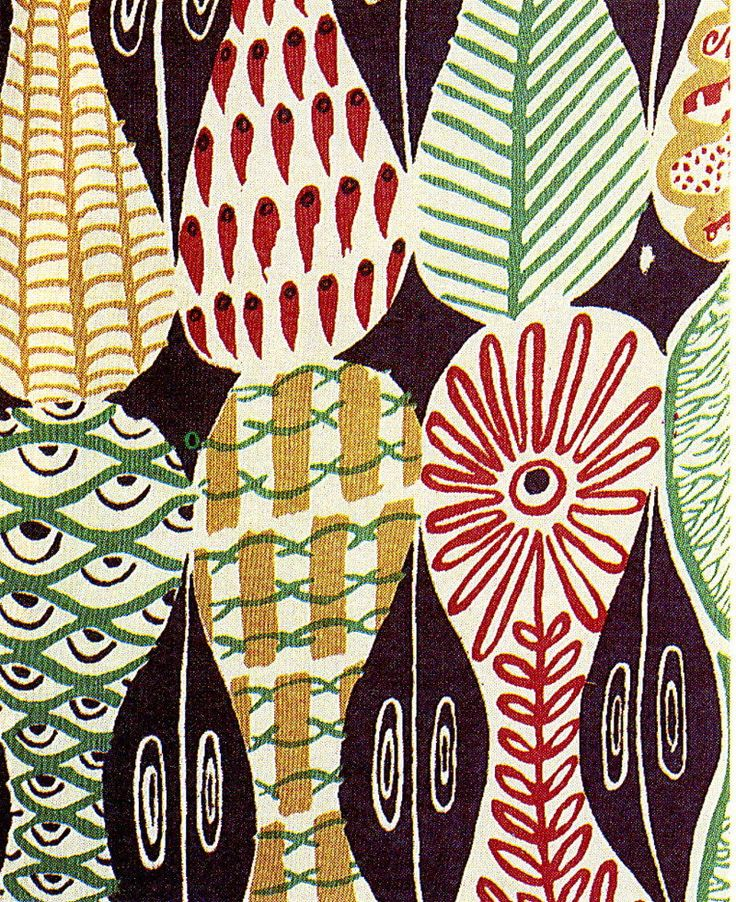 1947 Stig Lindberg fabric.  Example of simple repeat patterning used on ceramic forms.  2D painting project.
