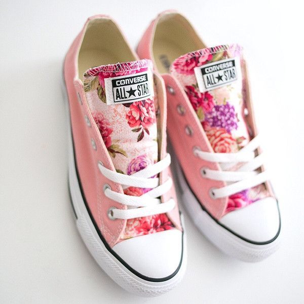 Pastel pink canvas converse with floral tongue size 7 womens shoe ❤ liked on Polyvore featuring shoes, canvas footwear, pink shoes, converse shoes, flower print shoes and floral pattern shoes