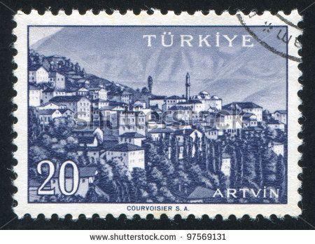 TURKEY - CIRCA 1959: stamp printed by Turkey, shows Turkish city, Artvin, circa 1959. - stock photo