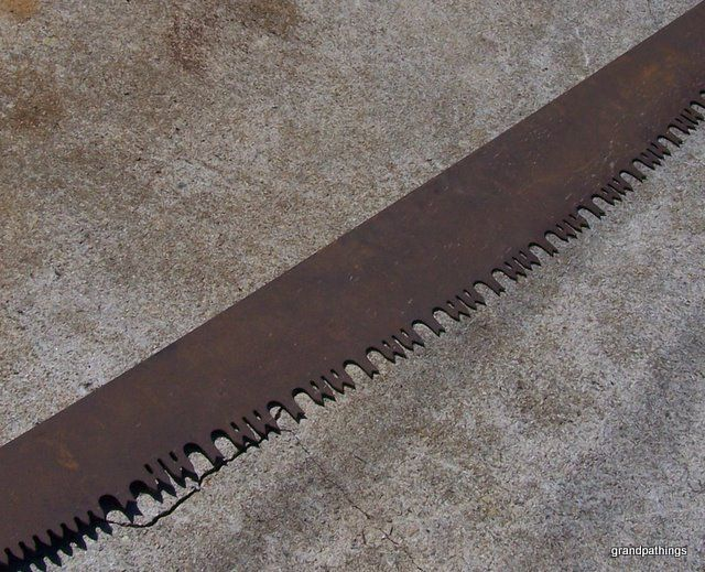"""Antique Crosscut Saw - Two Man - Lance Tooth - Felling Saw 71"""" long 6"""" wide 