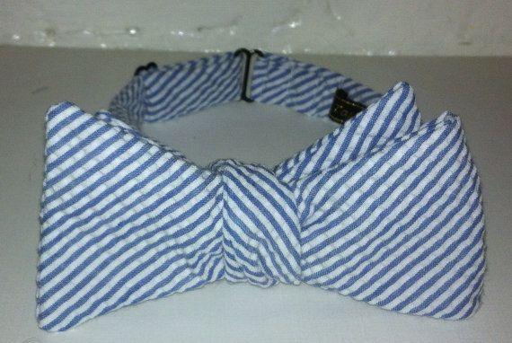 Seersucker Blue & White Pinstripe Bow Tie by TarRiverTies on Etsy