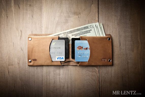 Minimal Leather Wallet, Mens leather wallet, bifold wallet, thin leather wallet, Traditional 015