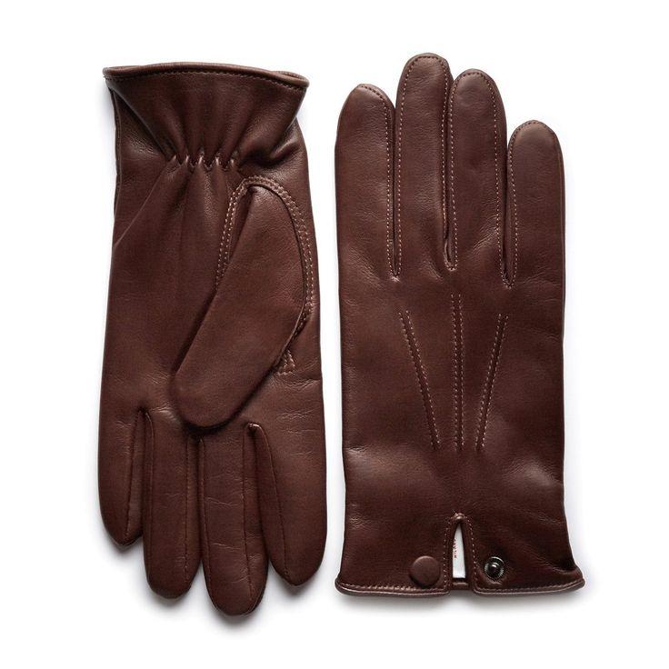Dark Brown Leather Gloves John Henric