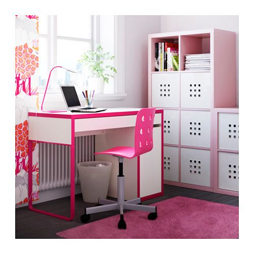 Pink desk and shelves