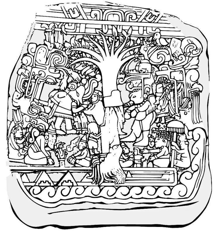 """Schöpfungsmythos der Maya: Geburt aus dem Weltenbaum, dem Baum des Lebens. Stele Nr. 5 von Izapa. Der Baum soll aus dem Bauchnabel des """"Ersten Vaters"""" gewachsen sein, der sich opferte, um das Leben weiterzugeben."""