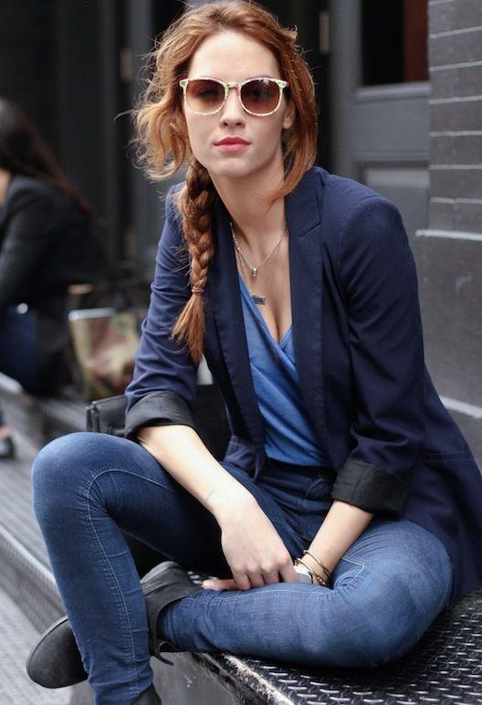Easy does it.Street Fashion, Casual Style, Hair Colors, Navy Blazers, Blue, Feminine Tomboys, Denim, Blazers Jeans, Side Braids