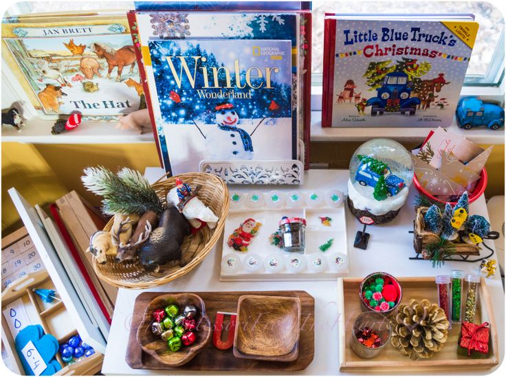 What is  on our, Christmas-Inspired Shelf, shelfie, The Christmas Wish book, inspired, small world play;  Holiday Smelling activity,  Little Blue Truck's Christmas,  Recycled Holiday Cards, DIY, puzzle,  Magnet Bell Transferring, Magnetism, Science, Kids Science, homeschool,  Invitation to decorate, pinecone, craft
