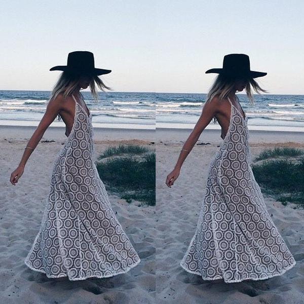 Summer Women Dress Sexy Halter V Neck - Backless - Sleeveless  Beach Dress White
