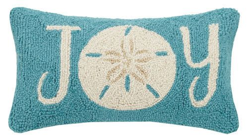 Sand Dollar Joy Wool Hooked Pillow Holiday Pillows Hooked Pillow Pillows