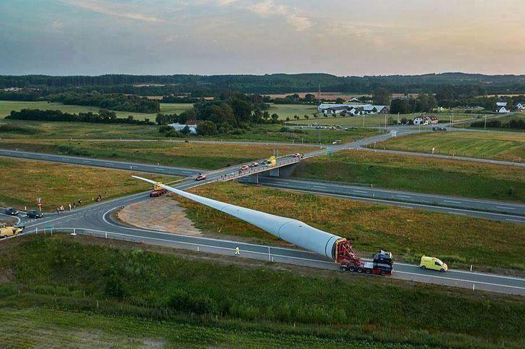 7MW wind turbine blade being shipped in Denmark