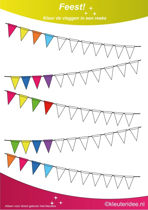 Kleur de vlaggen in een reeks 2, thema feest voor kleuters, juf Petra van kleuteridee, Color the flags, free printable.