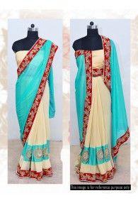 New Boutique Designer Green and Chiku Colour Simply Beautiful Half-Half Saree