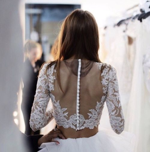 TheyAllHateUs...back waist area covered though...love lace sleeves and sheer button up back