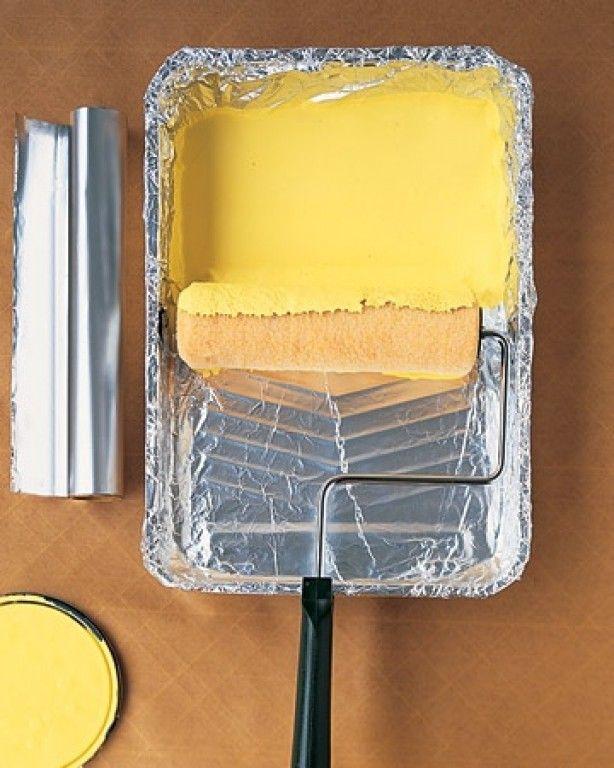 Zilverpapier in het bakje. Zo'n goede tip, ik verf nu altijd zo!
