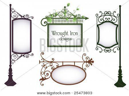 Conjunto de signos vintage de hierro forjado