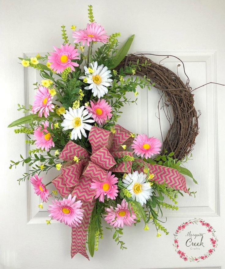 Spring Wreath for Front Door, Flower Wreath, Everyday Wreath, Pink Wreath, Grapevine Wreath, Spring Wreath, Porch Decor, Outdoor Wreath by MosquitoCreekCrafts on Etsy https://www.etsy.com/listing/529028802/spring-wreath-for-front-door-flower
