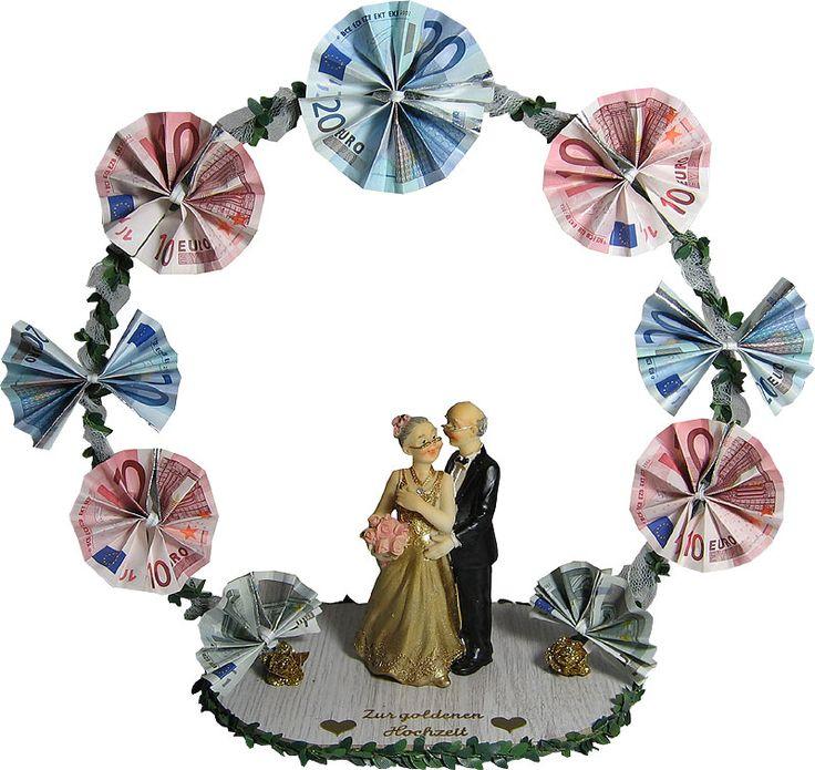 Geldgeschenk GOLDENE HOCHZEIT Hochzeitsbogen mit Goldpaar - Geldbogen -