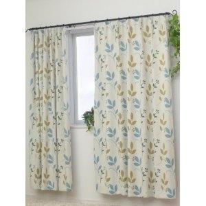 <アウトレット> 1級遮光 遮熱 断熱 北欧柄カーテン 「リーフ」 グリーン 幅100x丈135cm 2枚組