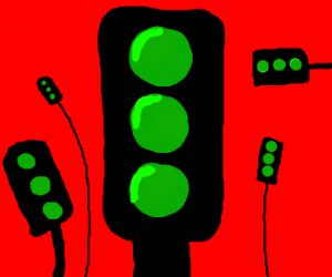 All the traffic lights are green