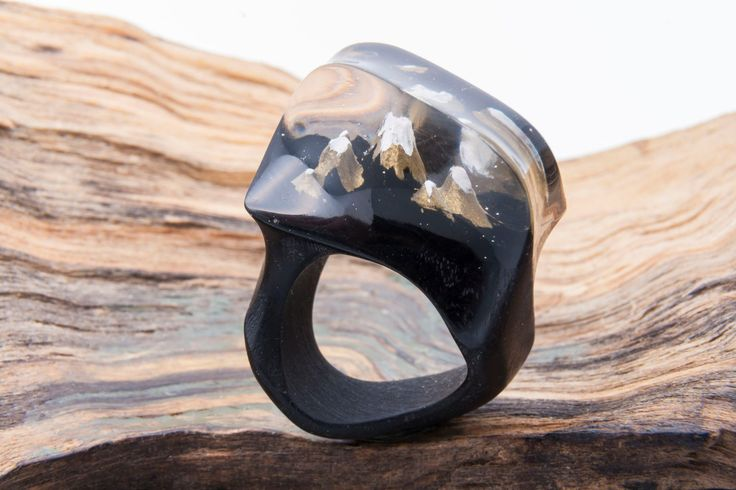 """Black Natural Wood Resin Ring """"Through the Clouds"""", Natural Jewelry, Wood Ring, Eco Ring, Blue sky Ecopoxy Resin, Exclusive Ring, Xmas Gift by NellyRomanova on Etsy"""