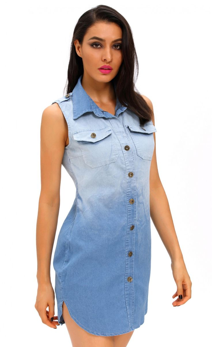 Button Down Sleeveless Denim Shirt Dress