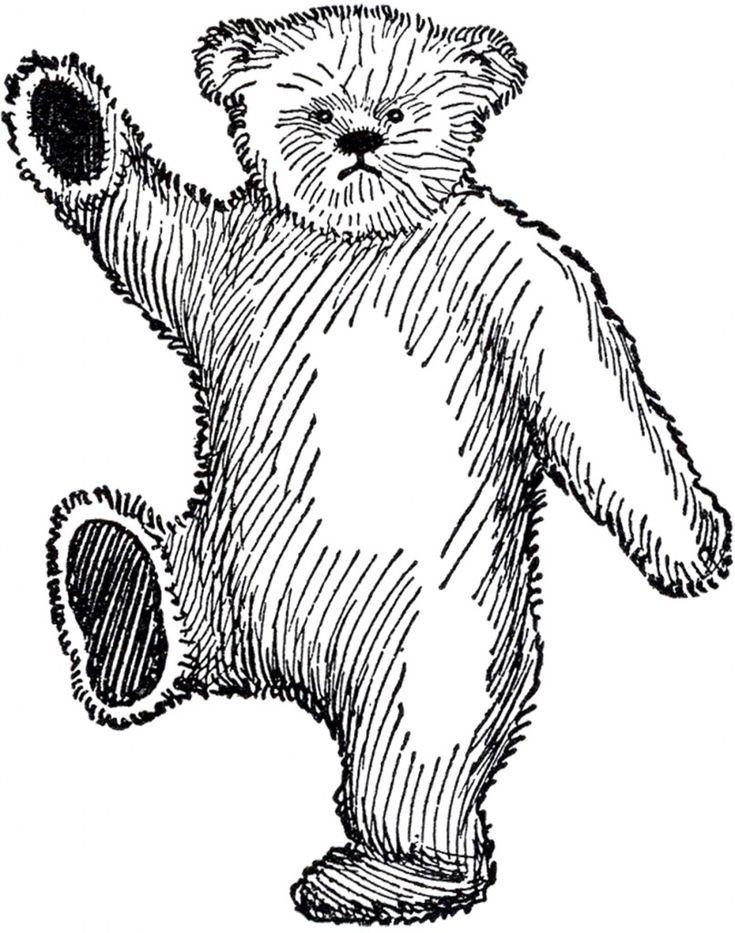 Public Domain Teddy Bear Image - Cute! - The Graphics Fairy